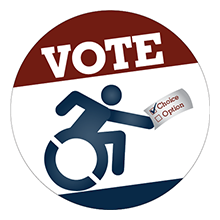 """Vote"" button in red, white, and blue, with a wheelchair symbol figure casting a vote"