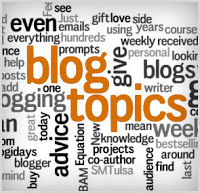 Word cloud around the words blog and topics