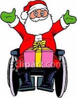 Cartoon of Santa Claus in a wheelchair