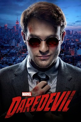 Poster for Daredevil TV show, with portrait of Matt Murdock, young man in suit wearing round sunglasses and adjusting his tie, smiling