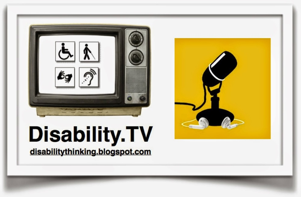 Disability.TV logo on the left, microphone icon on the right