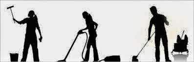 "3 black silhouette figures doing housework, to illustrate ""Housekeeping"""