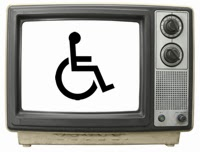 Television set with wheelchair symbol on the screen