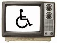 Picture of an old style television set with the wheelchair symbol on the screen