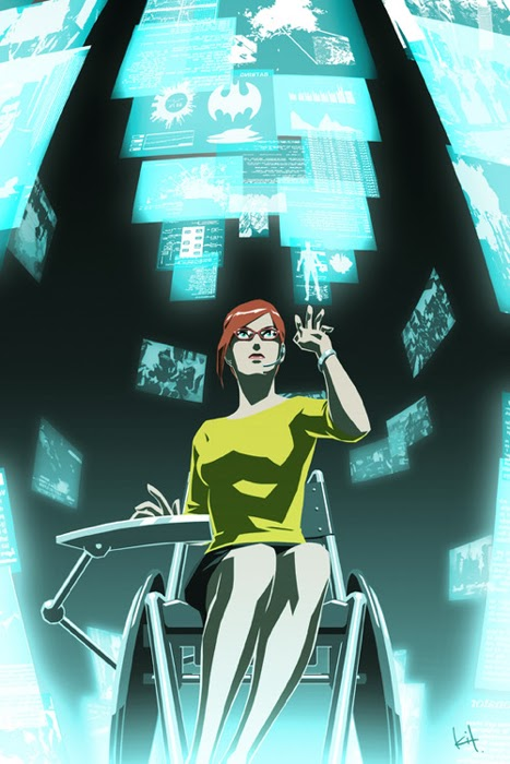 Color illustration of Oracle, female comic book character in a wheelchair