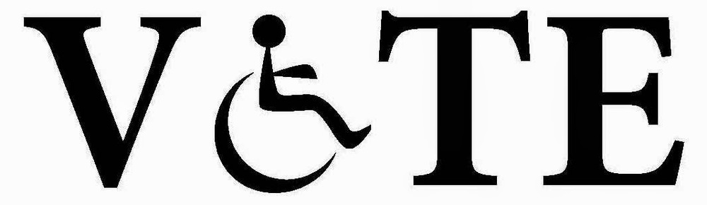 "VOTE in large black capital letters, but the ""o"" is the wheelchair symbol"