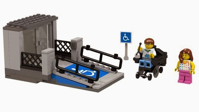 Lego model of a house with a wheelchair ramp, plus a Lego figure in a wheelchair