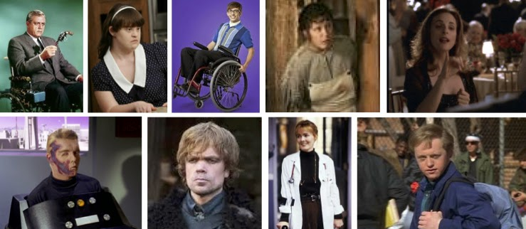 Collage of disabled TV characters: Chief Robert Ironside, Addie Langdon, Artie Abrams, Jewel, Joey Lucas, Capt. Christopher Pike, Tyrion Lannister, Dr. Kerry Weaver, Corky Sherwood
