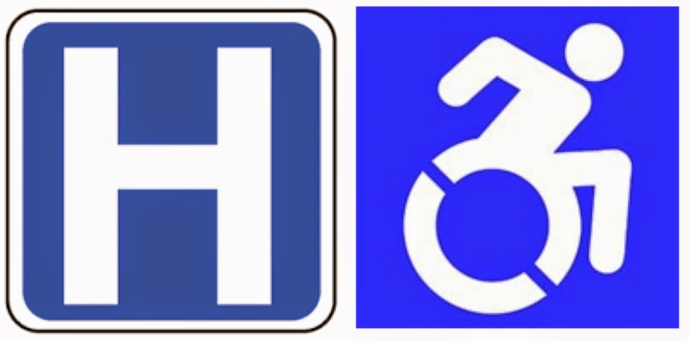 "Large ""H"" hospital icon on the left, active wheelchair icon on the right"