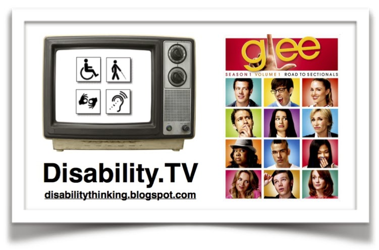 Disability.TV logo on the left, Glee poster on the right