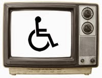 Photo of an old-style TV set with the wheelchair symbol on the screen