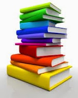 Colorful cartoon picture of a tall stack of books