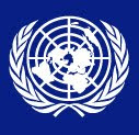 United Nations symbol, white lines against a dark blue background