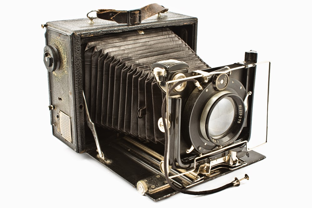 Color photo of an antique camera
