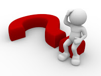 3 d illustration of a red question mark lying on it's side, with a white stick figure sitting on it, scratching head