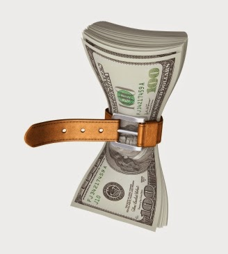 Bundle of dollars with a tightened belt around it