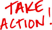 Take Action written in red, informal capital letters