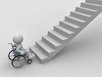 Illustration of a white 3-d stick figure sitting in a wheelchair at the bottom of a flight of stairs