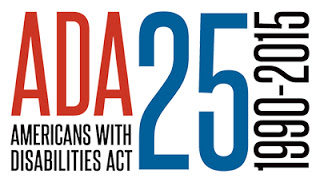 Logo in black, blue, and red reading ADA 25 - Americans with Disabilities Act - 1990-2015