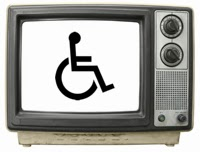 picture of a television set with the wheelchair symbol on a white screen