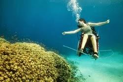 woman in wheelchair, underwater, with scuba gear
