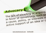 """Advocacy topic icon ... green highlighter pen highlighting the word """"advocacy"""""""