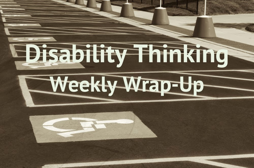 Disability Thinking in bold white font against a sepia-toned photo of a line of handicapped parking spaces