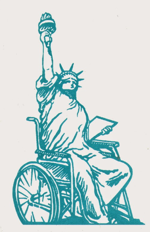 blue-green line drawing of the Statue of Liberty seated in a wheelchair