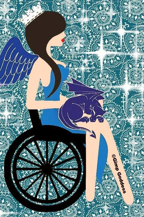 Simple color illustration of a woman with long black hair, sitting in a wheelchair, wearing a crown, holding a small dragon.
