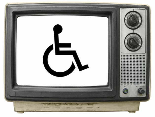 Picture of an old-style TV set with the wheelchair symbol on the screen