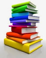 Illustration of a stack of multicolored books