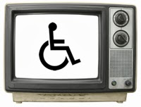 old tv set with wheelchair symbol on the screen
