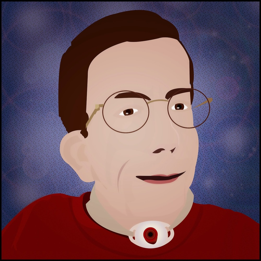 Painted color portrait of Andrew Pulrang, white man with glasses and brown hair, with a tracheostomy, and wearing a red shirt