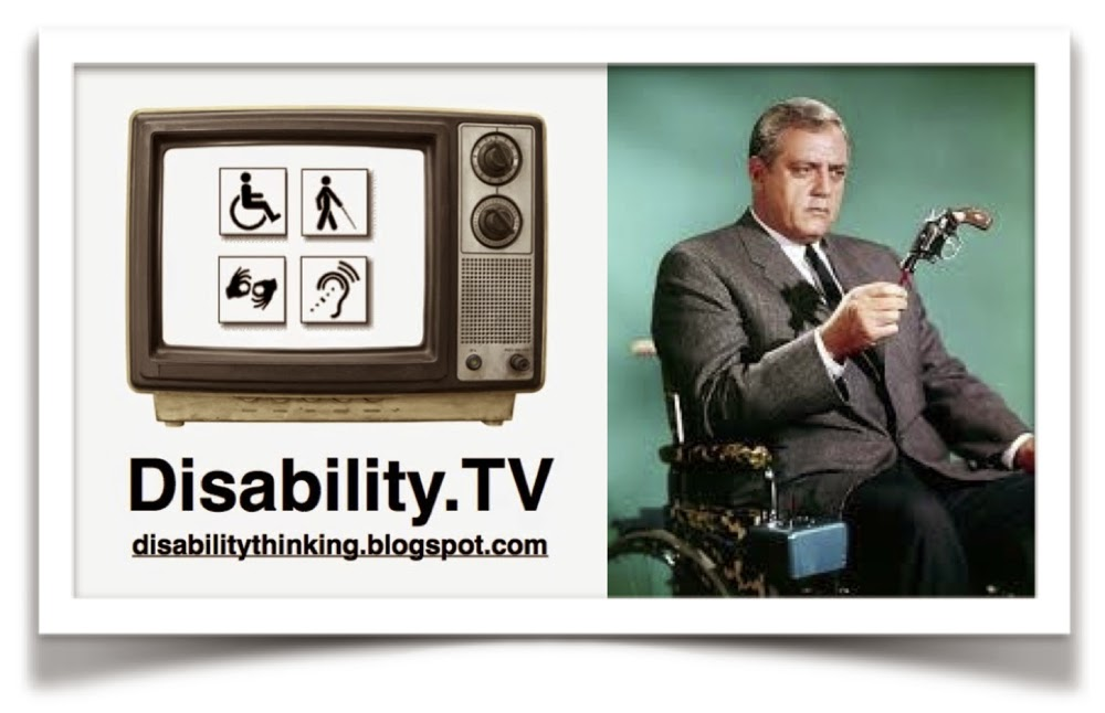 Left side - Disability.TV podcast logo - Right side - Photo of TV character Robert Ironside sitting in wheelchair holding a gun by the barrel