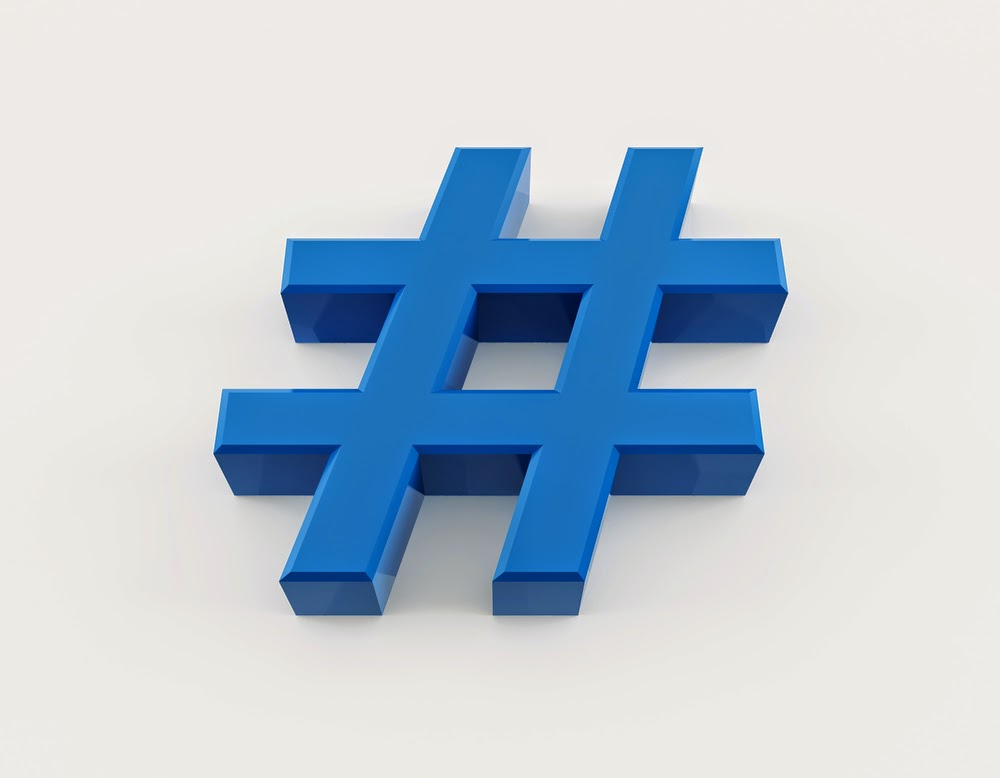 Blue 3-D illustration of a Twitter hashtag