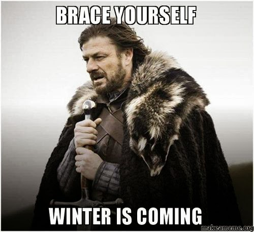 """Game of Thrones character Ned Stark, with caption """"Brace Yourself Winter Is Coming"""""""