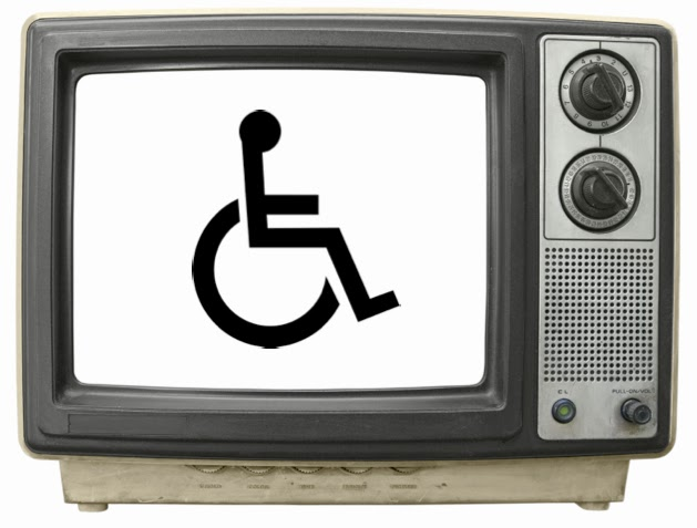 Photo of old style TV set with wheelchair symbol on the screen