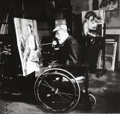 Photograph of Renoir painting while seated in a wheelchair.