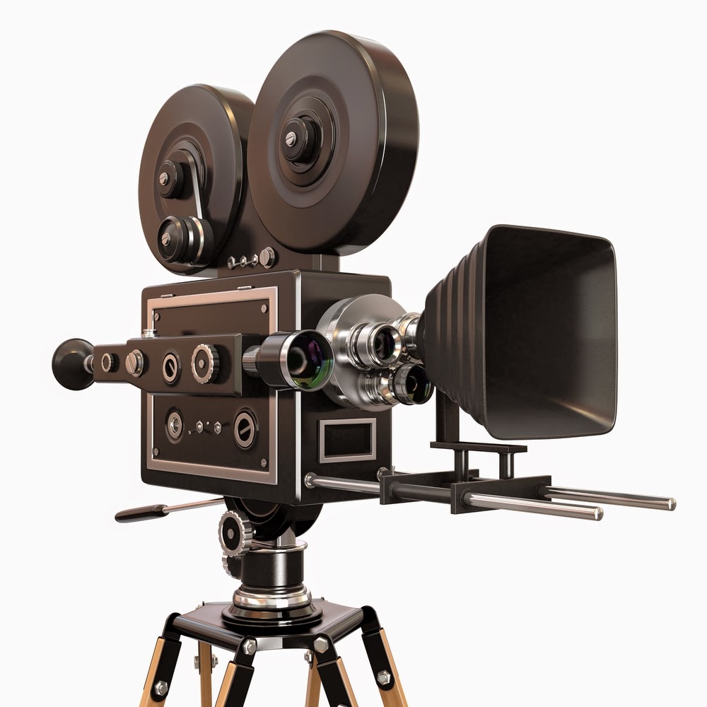 Photo of an old-style movie camera