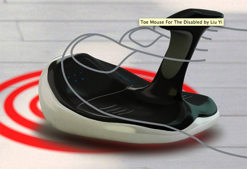 """Photo of """"Toe Mouse"""" computer controller, with drawing of foot superimposed"""