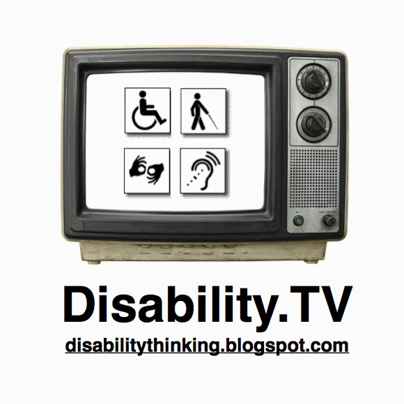 Photo of old tv set with four disability symbols on the screen - Disability.TV - disability thinking.blogspot.com