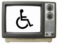 Old-style television set with wheelchair symbol on the screen