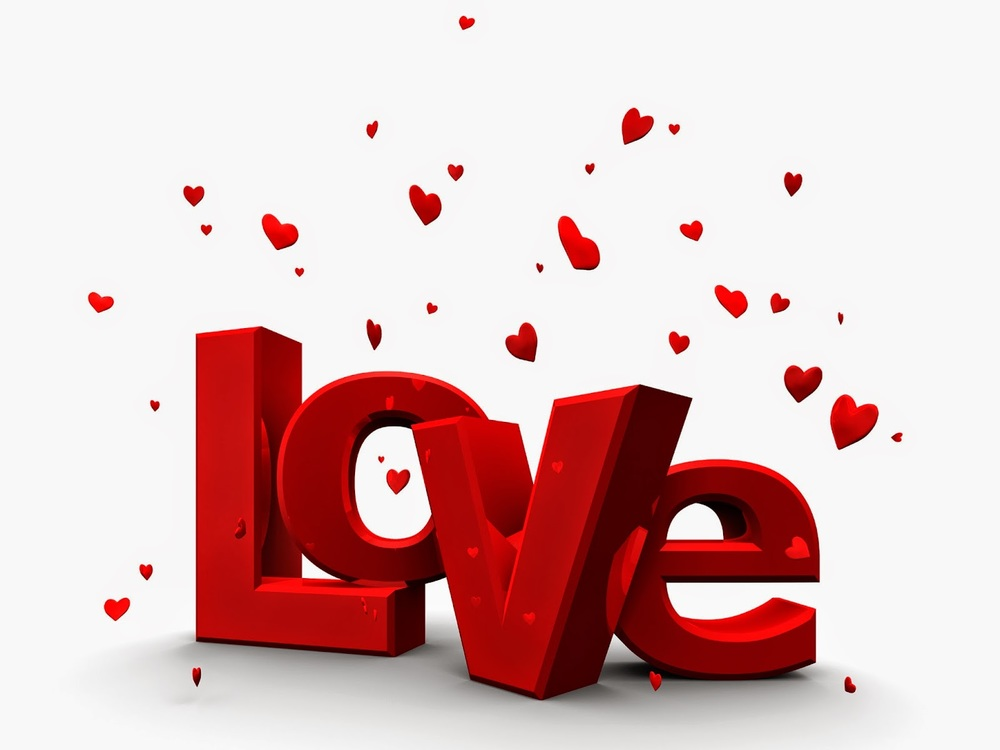 "3-D illustration of the word ""Love"", with little red hearts"