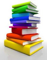 Picture of a multi-colored stack of books