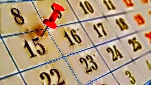 Illustration of a calendar with a red pin in it