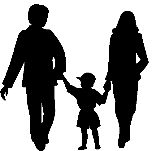 Black silhouette of a father and mother with a child between them holding their hands