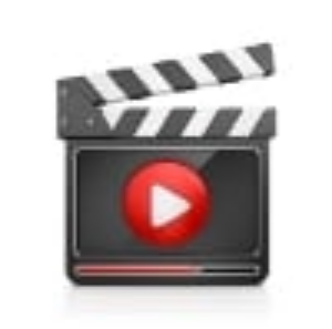 Icon of a movie set clap board with a white on red play button on the front