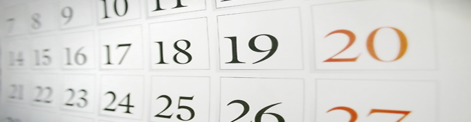 Close up picture of a monthly calendar page