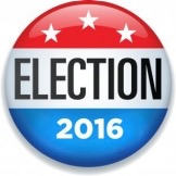 Red white and blue campaign-style button reading Election 2016