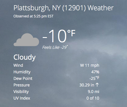 Screen shot of Weather Channel report for Plattsburgh, NY Weather, showing -10 degrees with -29 degrees wind chill